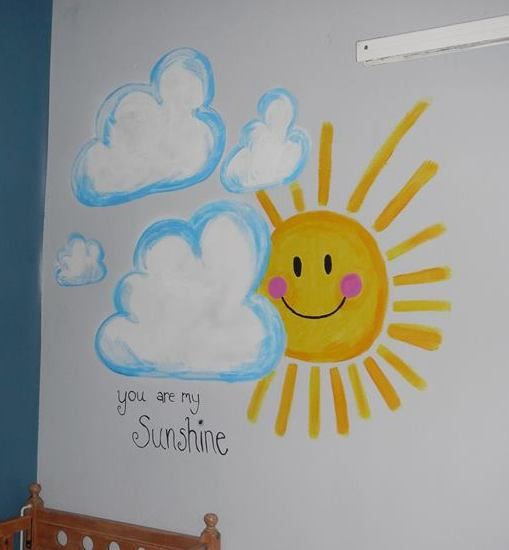"Wall Art: freehand ""You are my sunshine"" painting in my sons nursery"