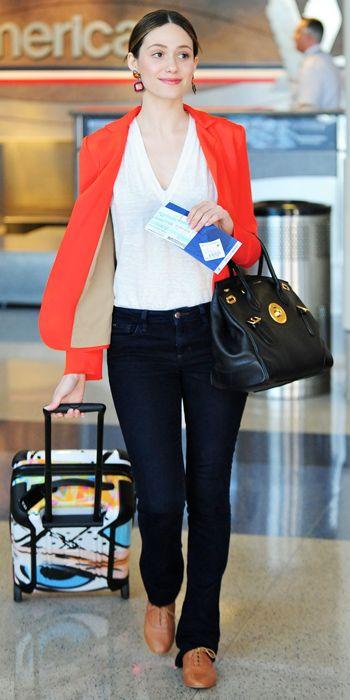 Emmy Rossum l red blazer