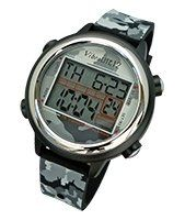 """VibraLITE 12 Vibrating Watch with Camouflage Band. 12 daily alarm settings for preset variable reminders. Countdown in hours, minutes and seconds - up to 23 hours and 59 minutes, 59 seconds. Text prompts assist in setting and confirming settings and easy to read (digital face). Water resistant 30m & Fits wrist sizes 4-3/10"""" - 7-7/8"""" (11cm - 20cm). Lightweight, smaller and more durable aluminum case & Camouflage silicon watchband."""