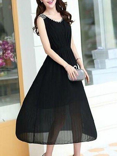 Concise Round Neck  Plain Maxi-dresses Maxi Dresses from fashionmia.com