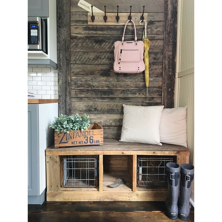 Reclaimed barn wood hall tree / coat rack with storage ...