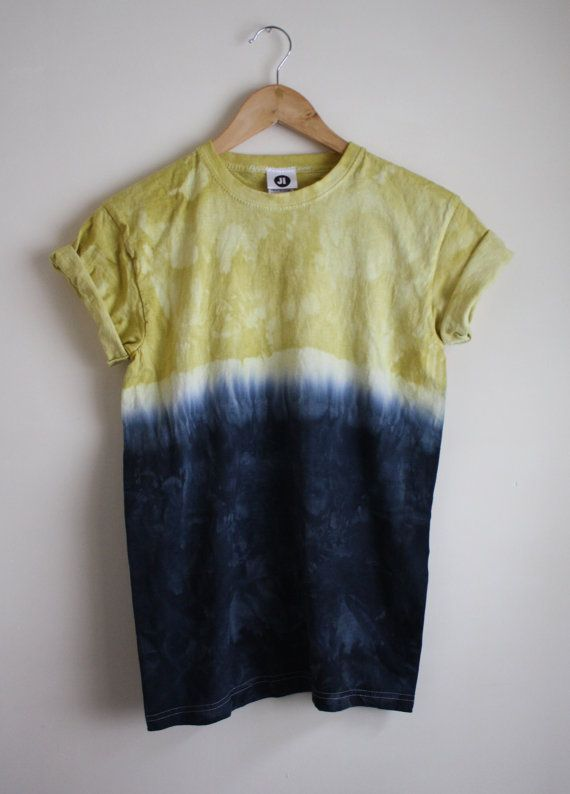 Dip Dye Tie Dye T-Shirt Unisex Yellow and by JessIrwinClothing
