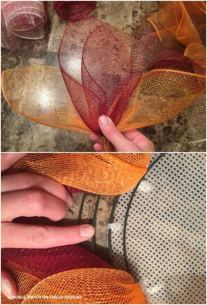 combine gold and brown mesh for your deco mesh flower wreath