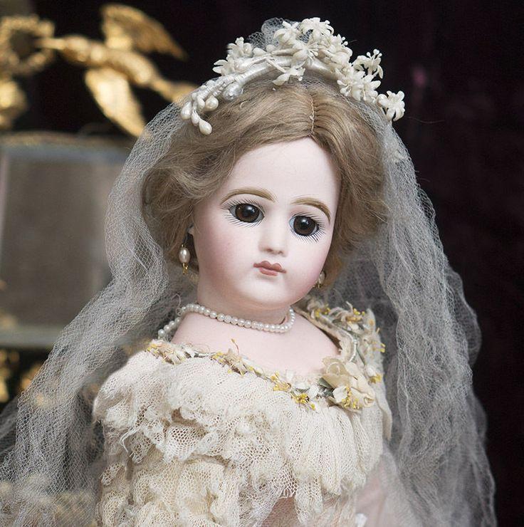 """18"""" антикварная французская модная кукла от Jumeau, драматические большие глаза, свадебное платье"""