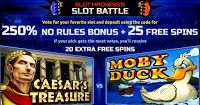 Slot Battles of Ages: 250% No Rules Bonus and 25 Free Spins at Slot Madness Casino