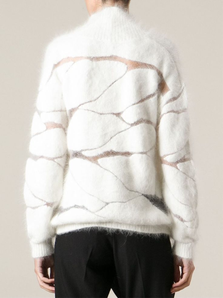 Contemporary Knitwear - fluffy white sweater with abstract pattern detail // Tom Ford #knitwear #texture