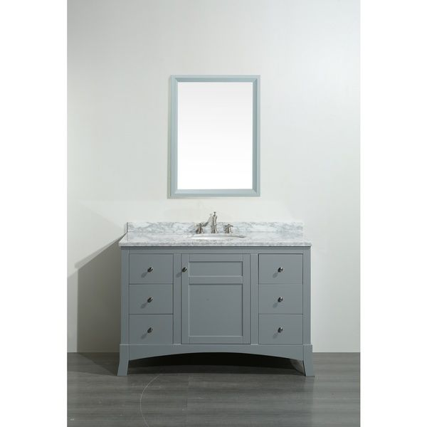 Eviva New York 48-inch Grey Bathroom Vanity, with White Marble Carrera Counter-top, & Sink