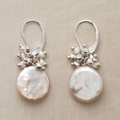 """STARSHOWER EARRINGS--Shiny sterling silver nuggets rain starlight down on cultured coin pearls. Handmade in USA with sterling silver lever backs. Exclusive. 1-1/4""""L."""