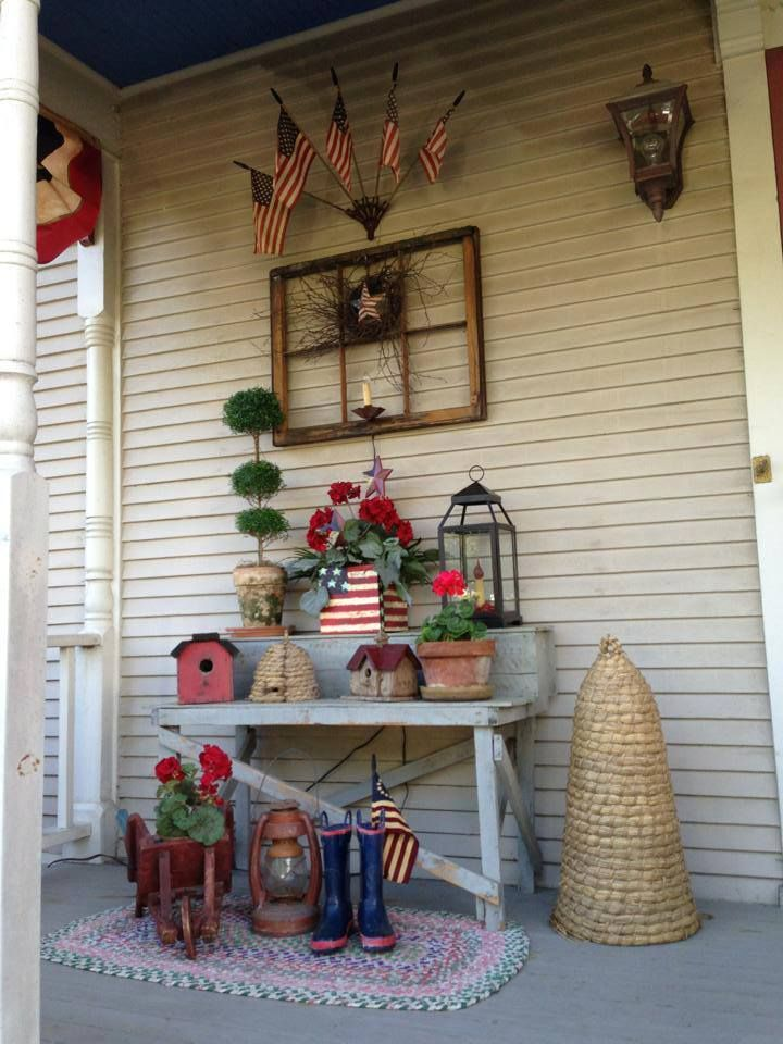 Americana Decorated Porch Want To Use Some Of Theses Ideas On The Porch