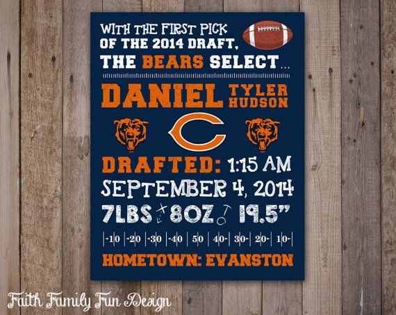 NFL Chicago Bears Wall Art Birth by FaithFamilyFunDesign on Etsy, $8.00