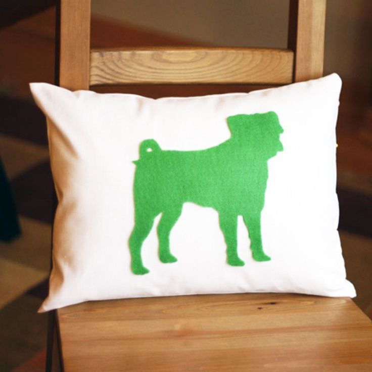 $42 Custom made Felt Silhouette Dog Pillow - (This image is just an example - each is one of a kind)