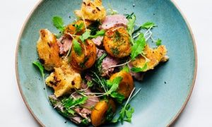 Soft and luscious: ham, apricots and dill.
