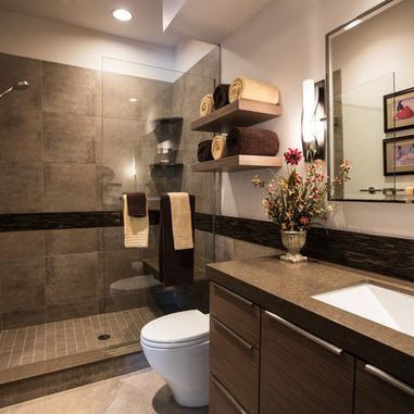 Bathroom Design Inspiration, Pictures, Remodels and Décor. I like how the stipe goes all the way around the room. I would have gone to the ceiling with the shower wall tile and change the paint color