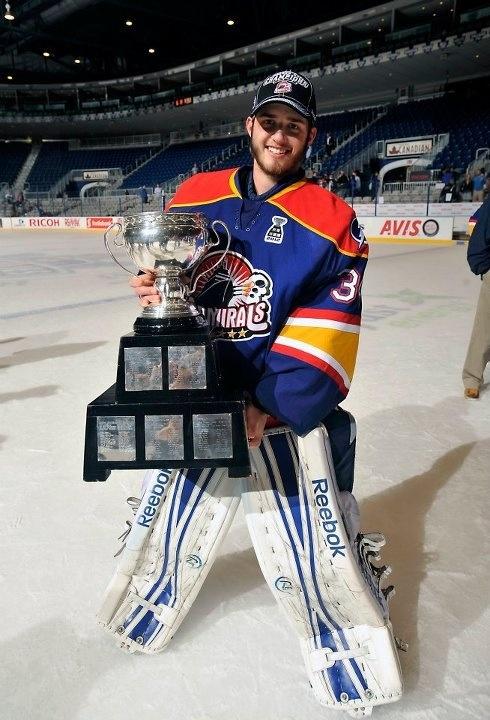 Dustin Tokarski with the Calder Cup
