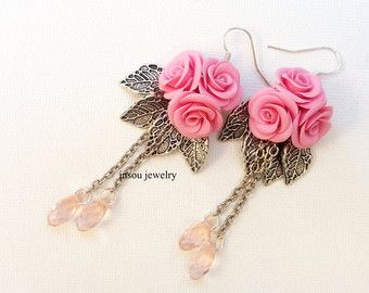 Roses Pink Jewelry Flower Jewelry Handmade by insoujewelry on Etsy
