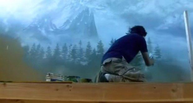 Dipingere paesaggio montano sulla parete di casa. Video tutorial | Stile Arte