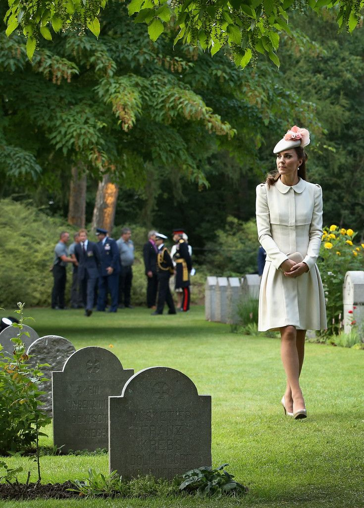 Kate Middleton: British Royals Visit the St Symphorien Military Cemetery;  LOOK CLOSELY IN THE BACKGROUND AND SEE WILLIAM COMING TOWARDS KATE!