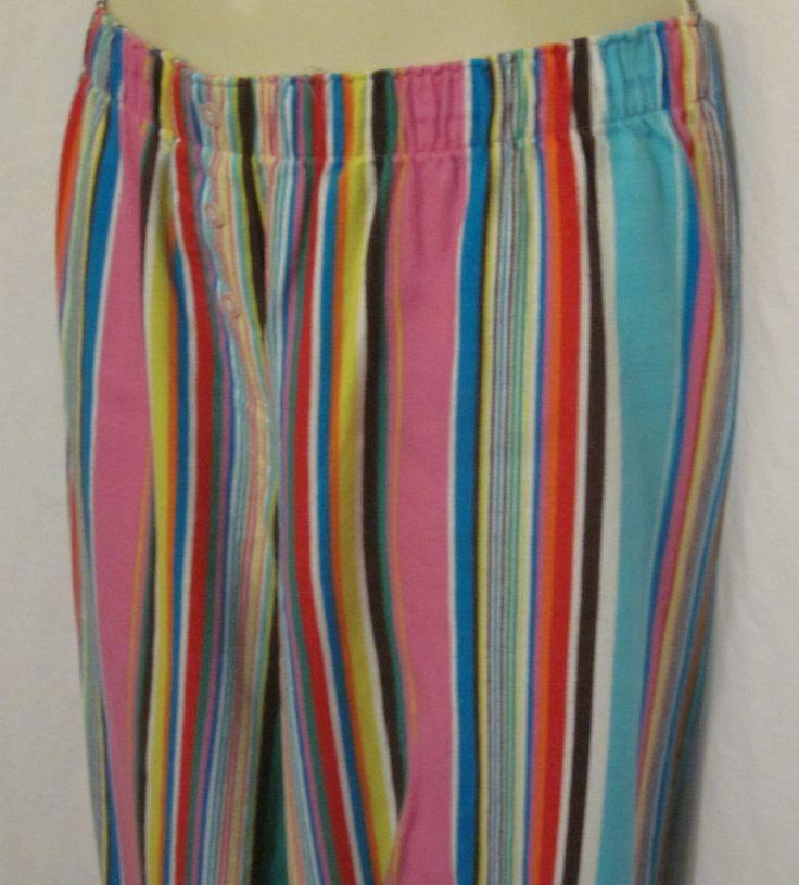 Victorias Secret Lounge Pants Medium Pink Blue Striped Flannel Pajama Bottoms
