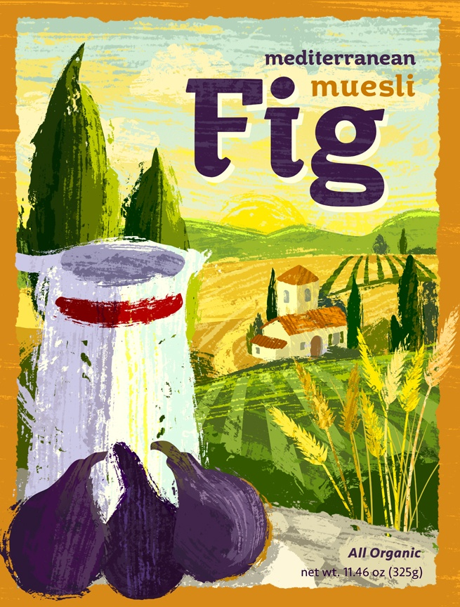 Fig muesli cereal packaging idea.