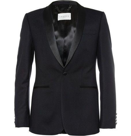 Sandro Slim-Fit Wool Tuxedo Jacket   MR PORTER