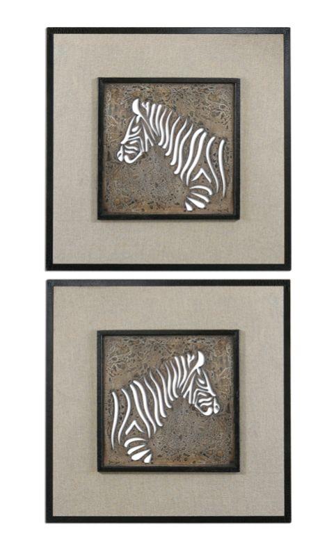 Uttermost 07670 zebra squares wall art in dark bronze set of 2