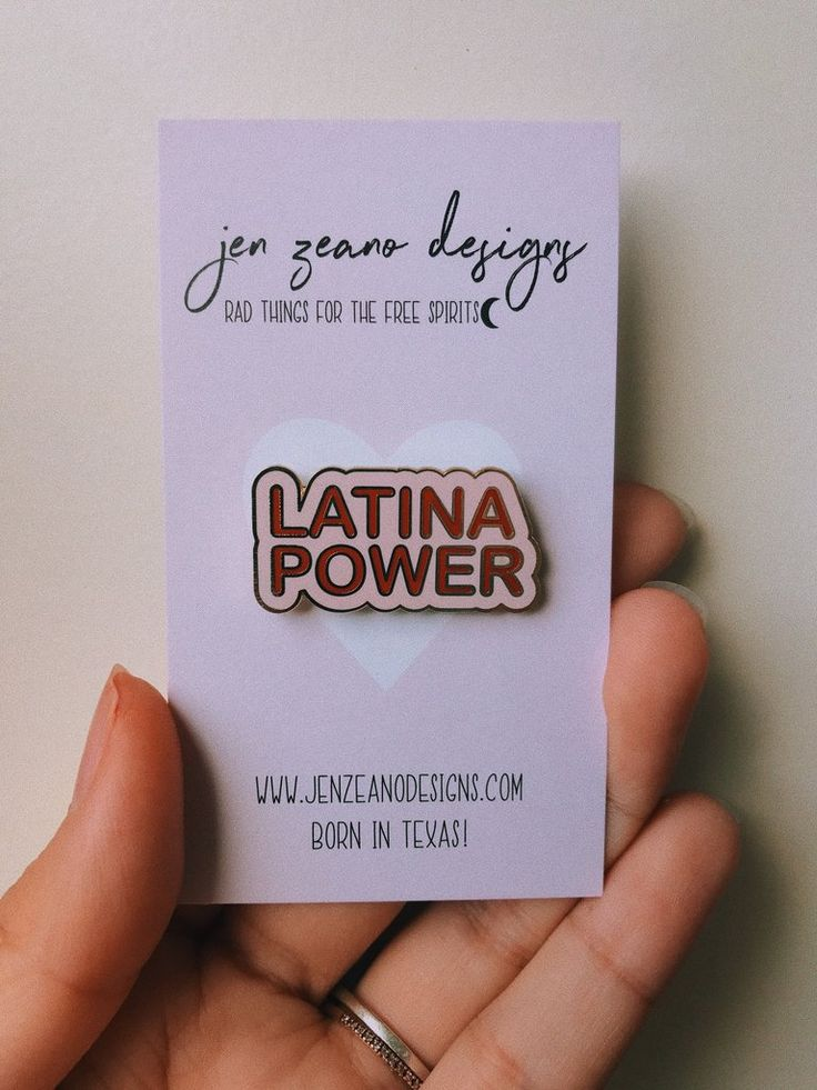 "Latina Power in a magical little pin! Put it on your jean jacket, your backpack, your camera strap, or anywhere you want! - 1.25"" Die cut enamel pin - Cloissone hard enamel set in plated gold - Butter"
