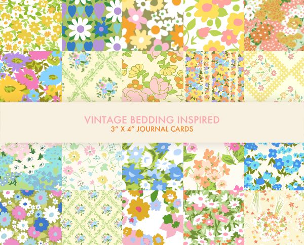 I love collecting vintage bedding fabric, but it always breaks my heart to use it in sewing projects because it's so precious. Those patterns and colors.. they just don't make things like that anymore! Well, until now. Presenting -- the vintage bedding journal card pack!  This pack includes 20 ...