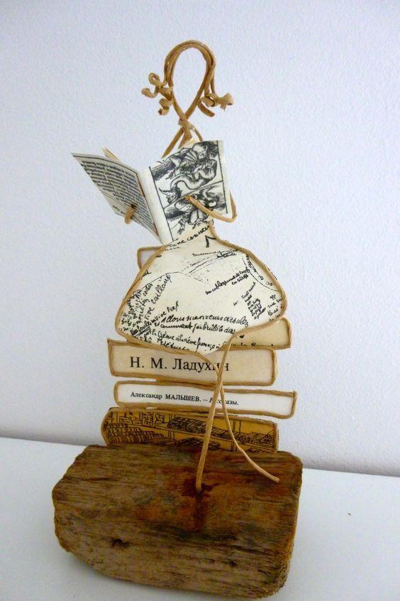 La lectrice - figurine en ficelle et papier : Accessoires de maison par ficelleetpapier: