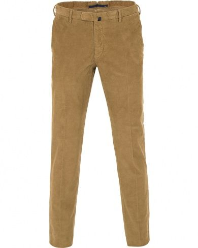 Incotex Slim Fit Garment Dyed Baby Corduroy Trousers Light Brown i gruppen Design B / Kläder / Byxor / Manchesterbyxor hos Care of Carl (14064311r)