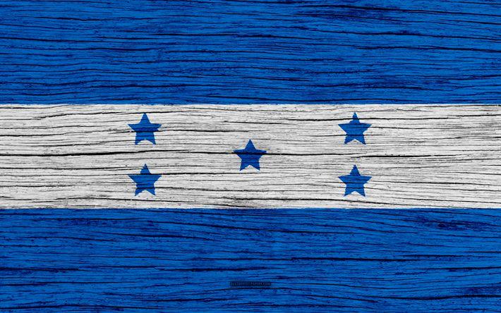 Download wallpapers Flag of Honduras, 4k, North America, wooden texture, Honduran flag, national symbols, Honduras flag, art, Honduras