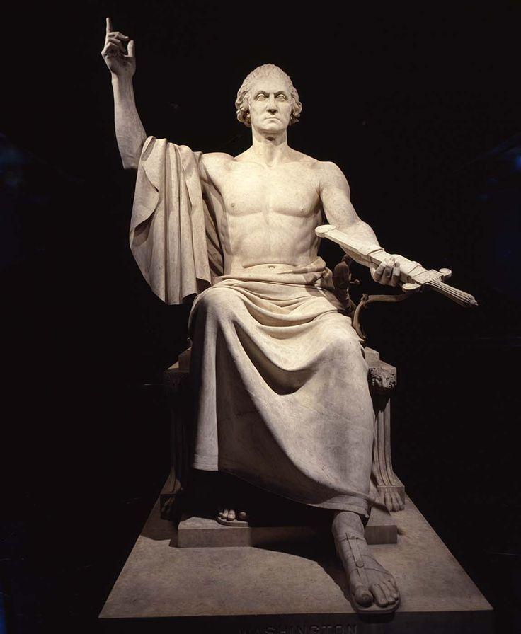 "NEOCLASSICISM~ Horatio Greenough, George Washington, 1840. Marble, 11' 4"" high. Smithsonian American Art Museum, Washington, D.C."