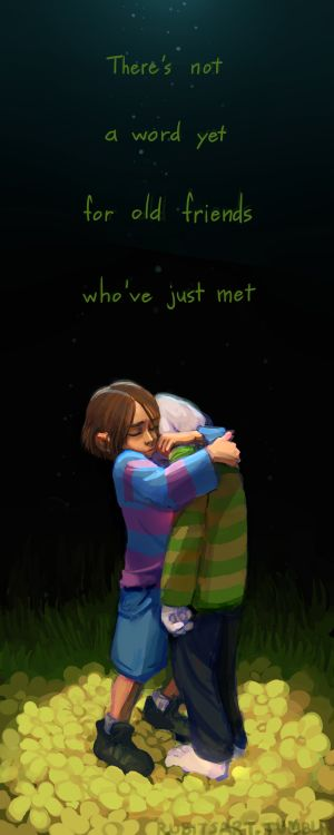 """Undertale. Asriel and Frisk. """"I don't wanna let go."""" (Omg, the artwork in this is gorgeous!)"""