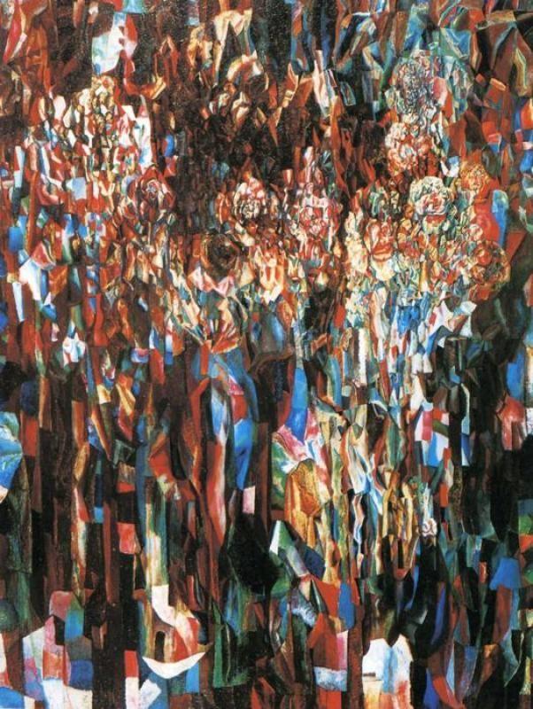 Павел Филонов. Цветы мирового процветания, 1916. Филонов пишет цветы, сопоставляя на холсте бесконечное множество плоскостей и состояний каждого лепестка. Цветы на наших глазах, кажется, прорастают из семечка, растут, наливаются силой, появляются бутоны, которые набухают, постепенно распускаются, доходят до полного раскрытия, увядают, опадают, на их месте рождаются новые…