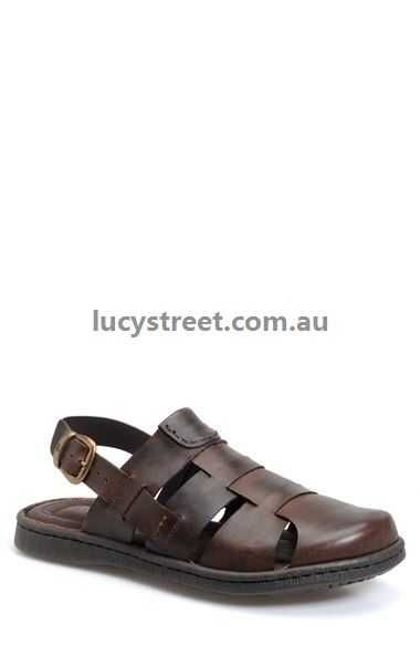 Men's Sandals - Børn - Hugh' Sandal - Dark Brown Leather Sandals - 1997409