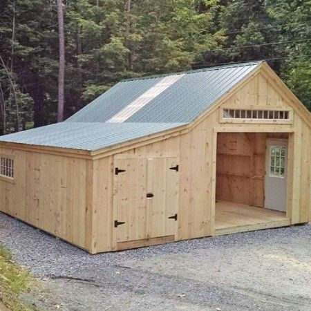 One bay garage kit barn cabin and building for Playhouse with garage plans