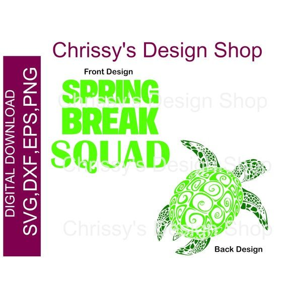 Spring break squad SVG download | Mandela sea turtle DXF EPS files | Cricut and Silhouette digital cut file| Png print and cut