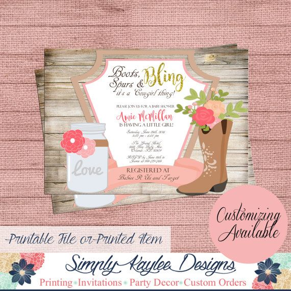 Cowgirl Baby Shower Invitation  Rustic Baby by SimplyKayleeDesigns