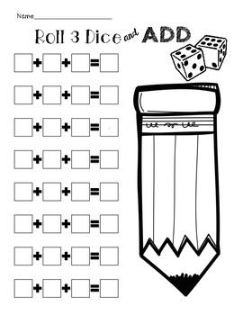 Students will have fun rolling dice and practicing addition! Simply roll 3 dice to generate addends and add them up to find the sum.