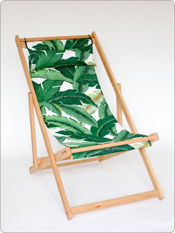 "Deck chair with Fabric Sling and Pillow  North American White Oak Handmade Deck Chair, protected with a natural and hard wearing outdoor oil. Removable 100% Polyester Outdoor fabric sling and pillow set. Tree donated and planted with every sale. Length up to 41"" Height up to 36"" Width 23.5"""
