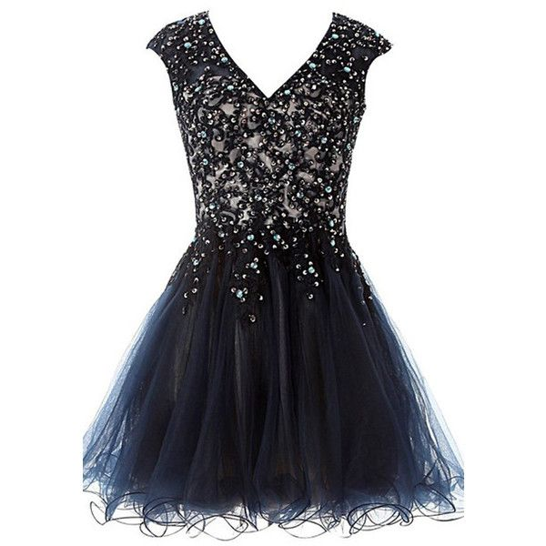 Dark Navy Mini Sleeveless V Neckline Satin Tulle A Line Short... ($149) ❤ liked on Polyvore featuring dresses, short homecoming dresses, a line homecoming dresses, v-neck dresses, mini dress and a line cocktail dress