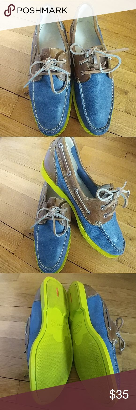 Men's Cole Haan Leather Boat Shoes Men's Cole Haan Leather Boat Shoes Only worn once! Gorgeous denim blue & brown leather upper; almost like a neon yellow sole. Cole Haan Shoes Boat Shoes