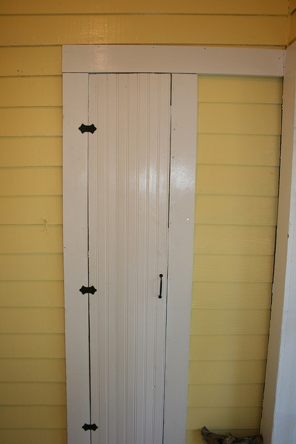 Love this paint color for a back sunroom like this. This beadboard door opens up to a built in ironing board!