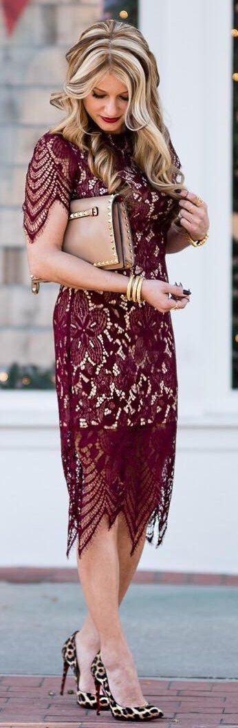 Last year's color, burgundy, gets some attention here with a midi dress, partially lined.  A nude clutch and shoes, and a long, sleek , blowout make this worthy of any evening out plans.