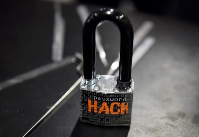 A padlock is displayed at the Alert Logic booth during the 2016 Black Hat cyber-security conference in Las Vegas, Nevada, U.S. August 3, 2016.  REUTERS/David Becker