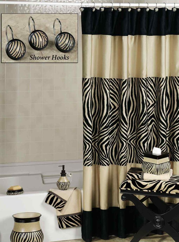 Brown and cream zebra shower curtain curtain menzilperde net for Zebra bathroom accessories