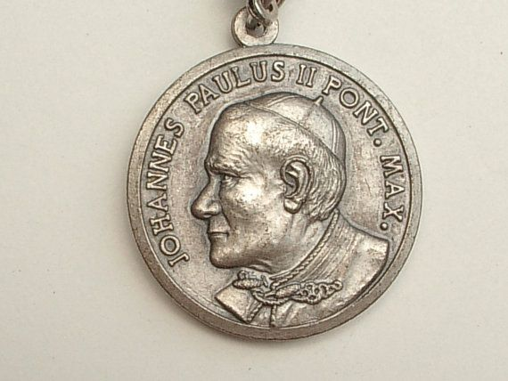 Vintage Pope John Paul II key chain Virgin Mary by ShoponSherman