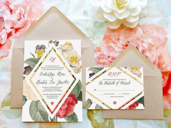 Geometric Floral Wedding Invitations Flower Wedding Botanical