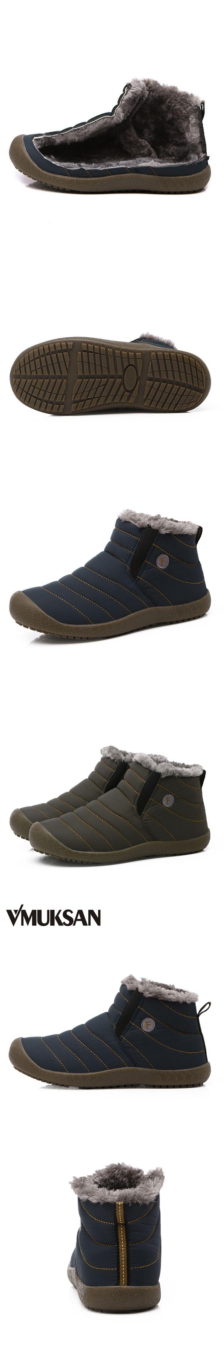 VMUKSAN Men Winter Snow Shoes Man Boot Lightweight Ankle Boots Warm Waterproof Mens Rain Boots 2017 New Furry Men Boots
