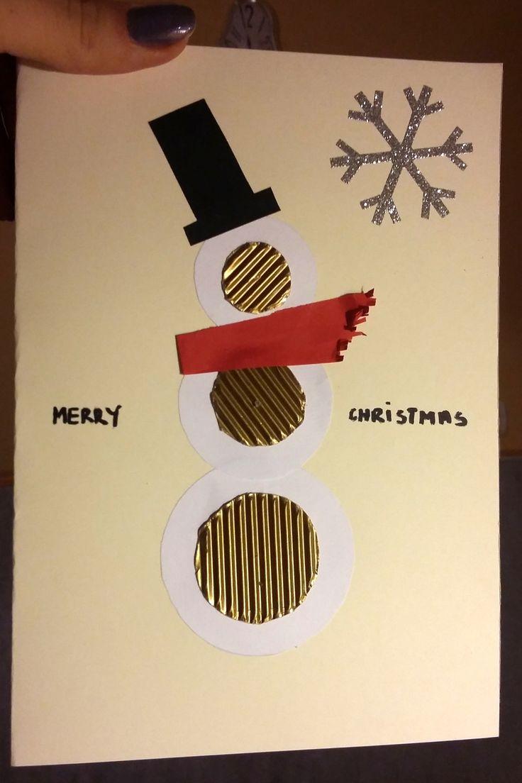 Kartka świąteczna - Nowoczesny bałwan #christmas #christmascard #cards #snowman