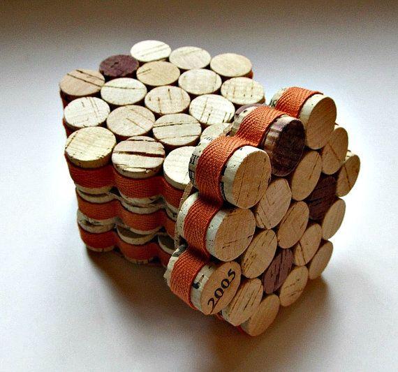 Honeycomb Wine Cork Coasters with Orange Ribbon - Set Of Four - Rustic Autumn Decor, Thanksgiving, Housewarming, Hostess, Fall Wedding